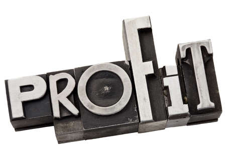 profit - business concept - isolated word in  grunge letterpress metal type Stock Photo - 13794910
