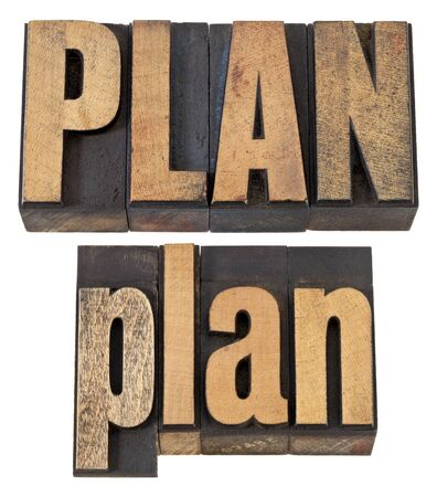 plan - isolated word in vintage letterpress wood type, upper and lower case layout Stock Photo - 13794944