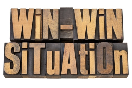 win-win situation - successful outcome of negotiation or conflict resolution concept - isolated words in vintage wood type photo