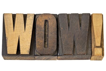 wow exclamation - isolated word in vintage letterpress wood type Stock Photo - 13794924
