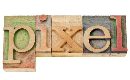 pixel - isolated word in vintage letterpress wood type Stock Photo - 13794969