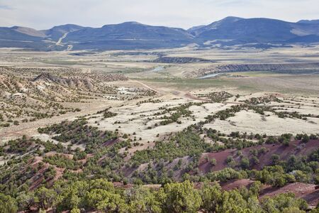 wide semiarid valley of Green River near Browns Park below Flaming Gorge Dam, Utah, early spring Stock Photo - 13795004