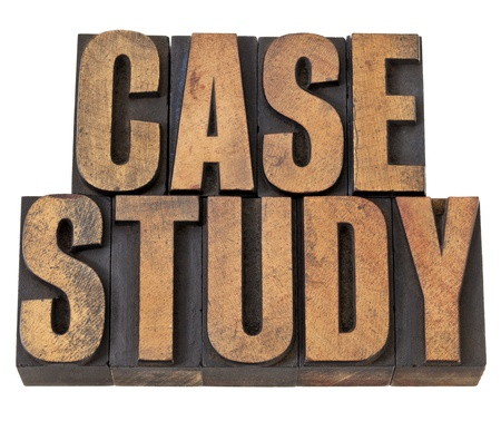 case study  - isolated  text in vintage letterpress wood type Stock Photo - 13794977