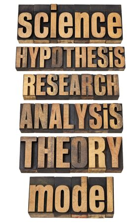 science related terms - a collage of isolated words in vintage letterpress wood type - hypothesis, research, analysis, theory, model Stock Photo - 13795011