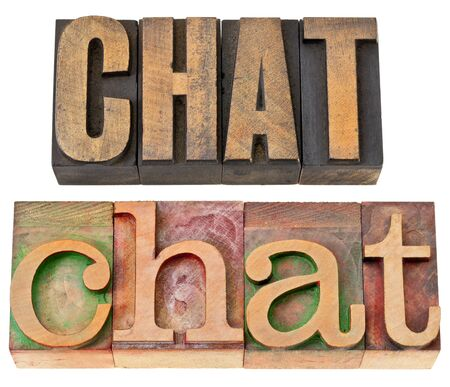 chat - internet social media concept - isolated word in vintage letterpress wood type, two layout in different fonts Stock Photo - 13860501