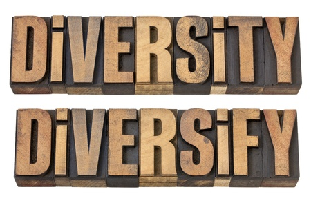 diversify: diversity and diversify  - isolated words in vintage letterpress wood type Stock Photo