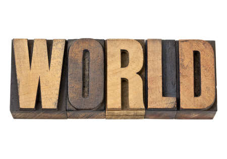 world - isolated text in vintage letterpress wood type Stock Photo - 13860498
