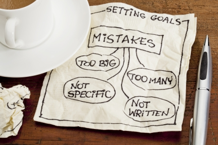 common mistakes in setting goals (too many, too big, not specific, not written) - a sketch drawing on a cocktail napkin with a coffee cup Stock Photo