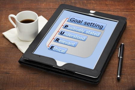 PURE (positively stated, understood, ethical) goal setting concept - a diagram on a tablet computer with stylus pen and espresso coffee cup against grunge scratched wooden table Stock Photo - 13927320