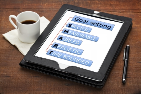SMART (specific, measurable, agreed, realistic, time bounded) goal setting concept - a diagram on a tablet computer with stylus pen and espresso coffee cup against grunge scratched wooden table Stock Photo - 13927317
