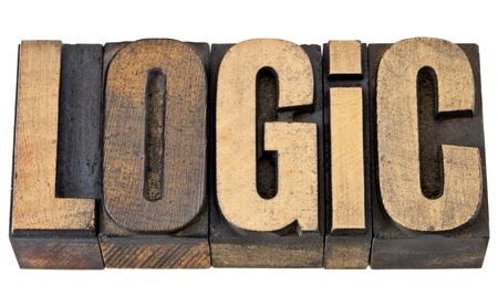 philosophy of logic: logic - isolated word  in vintage letterpress wood type