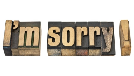 i am sorry: I am sorry  - isolated phrase in vintage letterpress wood type Stock Photo