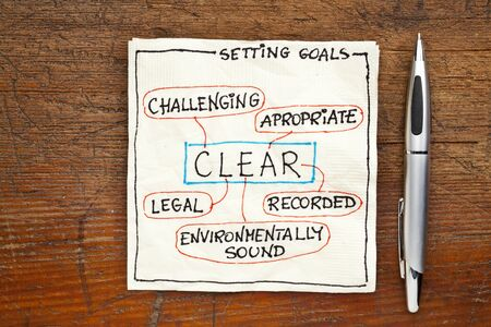 CLEAR ( challenging, legal, environmentally sound,appropriate, recorded) goal setting concept - a napkin doodle on a grunge wooden table photo