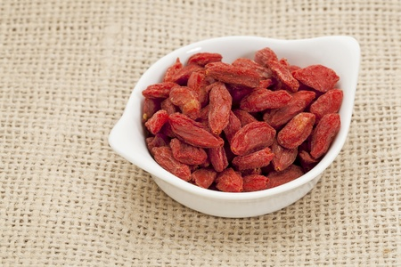 organic goji berries  wolfberry  in a small ceramic bowl - HImalayan superfood photo