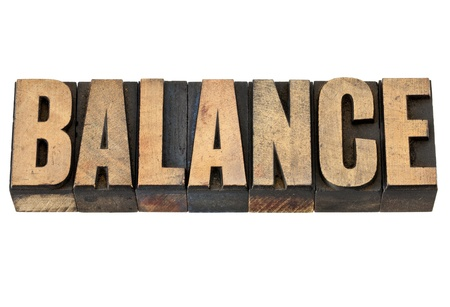 balance - isolated text in vintage letterpress wood type Stock Photo - 14007142