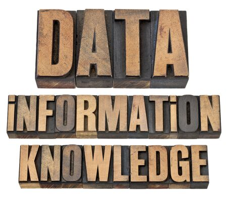 data, information, knowledge - a collage of  isolated words in vintage letterpress wood type Stock Photo - 14007150