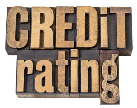 rating: credit rating - financial concept - isolated text in vintage letterpress wood type