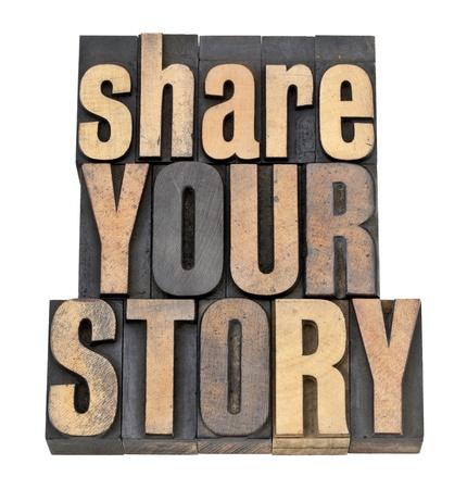 共有あなたの物語のフレーズ - ビンテージ活版木材の種類の分離本文 写真素材