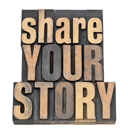 share your story phrase - isolated text in vintage letterpress wood type Stok Fotoğraf