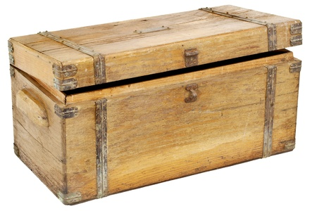 vintage wooden chest or toolbox with brass hardware isolated on white Фото со стока