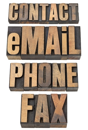 contact, email, phone, fax  - isolated word set in vintage letterpress wood type Stock Photo - 14065377