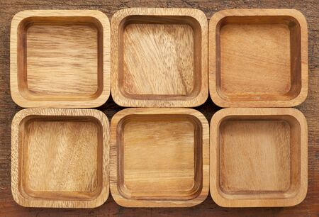 background and pattern of six wooden bowls with different wood grain Stock Photo - 14065376