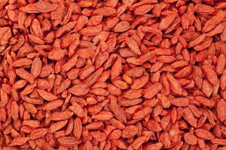 background of dried red Tibetan goji berries (wolfberry) - superfruit photo