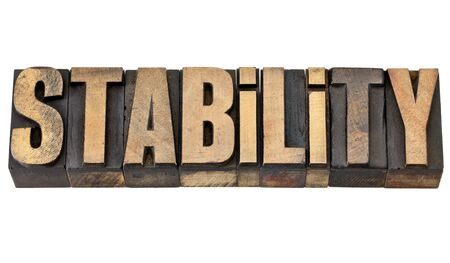 stability - isolated word in vintage letterpress wood type