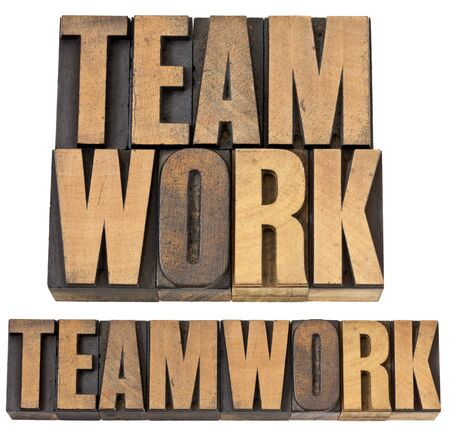 teamwork - isolated text in vintage letterpress wood type, two layouts Stock Photo - 14167356
