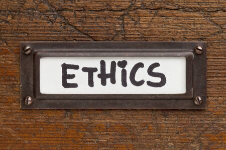 ethics tag - file cabinet label, bronze holder aga photo