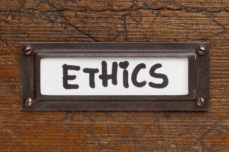 ethics tag - file cabinet label, bronze holder aga