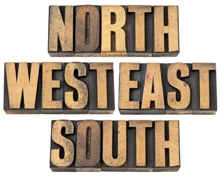 north, east, south, west - isolated text in vintage letterpress wood type Stock Photo - 14167364