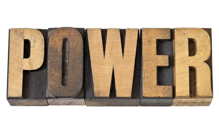 power - isolated text in vintage letterpress wood type Stock Photo - 14167357