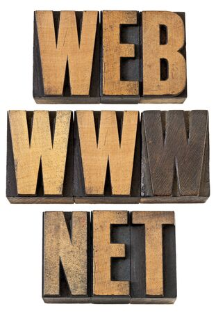 web, www, net  - internet concept - isolated text in vintage letterpress wood type Stock Photo - 14167365