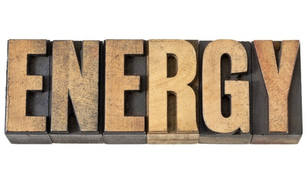 energy isolated text in vintage letterpress wood type Stock Photo - 14229675