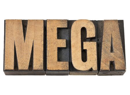 mega word (one million) - isolated text in vintage letterpress wood type Stock Photo - 14229678