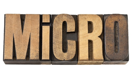 prefix: micro word (one millionth prefix) - isolated text in vintage letterpress wood type