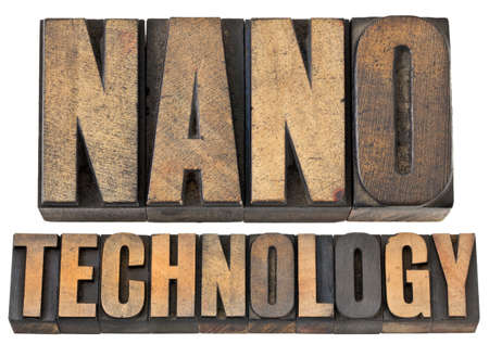 nanotechnology  -- isolated text in vintage letterpress wood type Stock Photo - 14229679