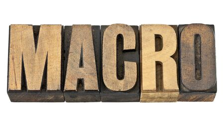 macro word - a very large scale concept - isolated text in vintage letterpress wood type Stock Photo - 14258797
