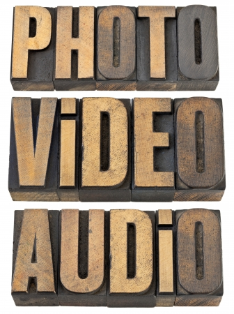 photo, video, audio words  - multimedia concept - a collage of isolated text in vintage letterpress wood type photo