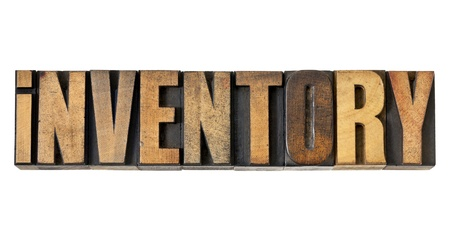 inventory word - isolated text in vintage letterpress wood type Stock Photo - 14288569