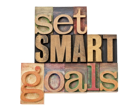 acronym: set SMART goals  - isolated text in vintage letterpress wood type