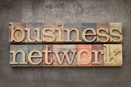 business network - text in vintage letterpress wood type on a grunge metal background Stock Photo - 14288576
