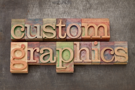 custom graphics  - text in vintage letterpress wood type on a grunge metal background Stock Photo - 14288573