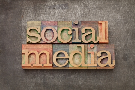 social media - internet networking concept - text in vintage letterpress wood type against grunge metal surface photo