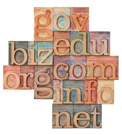 collage of popular internet domain extensions (org, biz, gov, net, info, edu, com) - vintage letterpress wood type, stained by color inks, isolated on white Stock Photo - 14334667
