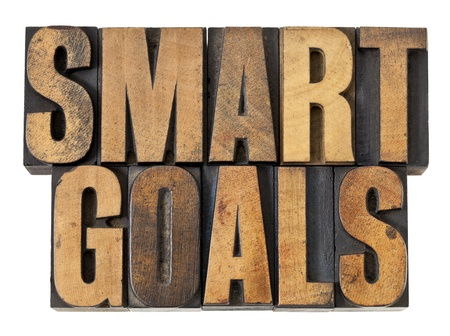 SMART goals phrase - isolated text in vintage letterpress wood type Stock Photo - 14334669