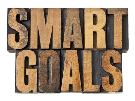 goals: SMART-Ziele Ausdruck - isoliert Text im Buchdruck Holz Vintage Art