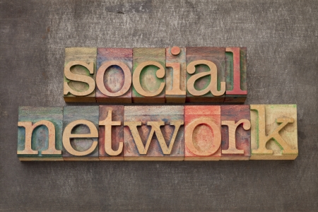 social network - text in vintage letterpress wood type against grunge metal surface photo