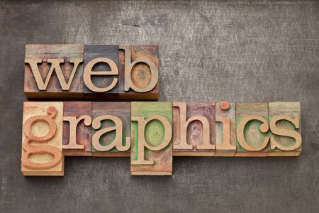 web graphics - text in vintage letterpress wood type against grunge metal surface Stock Photo - 14384446